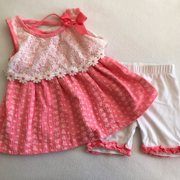 Little Lass Pink and White Daisy Set